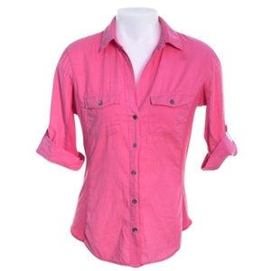 James Perse Contrast Panel Shirt Button-down Top